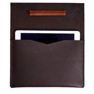 iPad Pro Çanta, Hakiki Deri El Yapımı iPad Koruyucu Çanta / Koyu Kahverengi