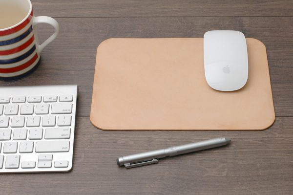 Deri Mouse Pad, Kişiye Özel Minimal Bilgisayar Mouse Pad, %100 Hakiki Deri, El Yapımı, Naturel Deri