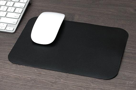 Deri Mouse Pad, Kişiye Özel Minimal Bilgisayar Mouse Pad, %100 Hakiki Deri, El Yapımı, Siyah