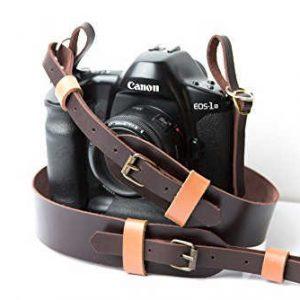 Kişiye Özel Kamera Askısı, Kişiye Özel Hediyelik Fotoğraf Makine Askısı, Hakiki Deri Kamera Boyun Askısı, Deri Fotoğraf Makinesi Boyun Askısı, Kahverengi -Taba