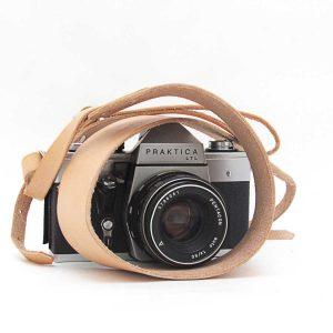 Kişiye Özel Hakiki Deri Fotoğraf Makinesi Boyun Askısı, Deri Kamera Boyun Askısı - Naturel Bej Deri