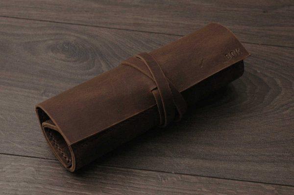 Rustik Deri Rulo Kalem Kutusu, Kişiye Özel Rulo Kalem Kılıfı, Hakiki Eskitme Antik Deri, Crazy Rustik Kahverengi